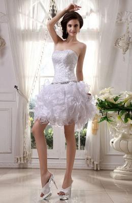 Günstig Kurze Hochzeitskleider Weiß Organza Brautkleider Mini Hochzeitsmoden_1