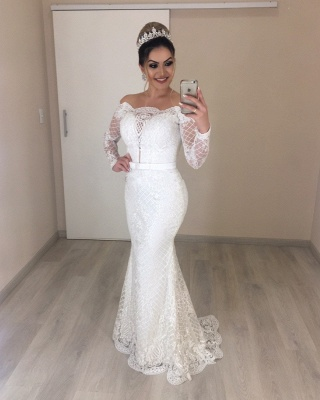 Elegant wedding dresses with sleeves | Bridal mermaid lace_2
