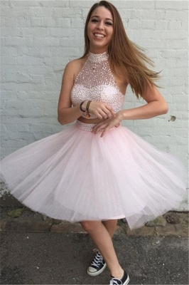 Pink 2 Dividers Cocktail Dresses Prom Dresses Short Beaded Tulle Evening Gowns Online_1