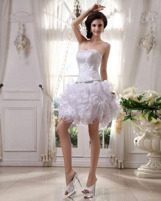Günstig Kurze Hochzeitskleider Weiß Organza Brautkleider Mini Hochzeitsmoden_6