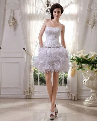 Günstig Kurze Hochzeitskleider Weiß Organza Brautkleider Mini Hochzeitsmoden_3