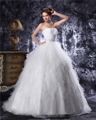 Princess white wedding dresses tulle with train bridal wedding gowns_3