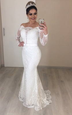 Elegant wedding dresses with sleeves | Bridal mermaid lace_1