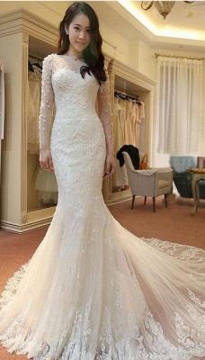 Lange Ärmel Brautkleider Weiß Spitze Meerjungfrau Perlen Brautmoden Hochzeitskleider_3