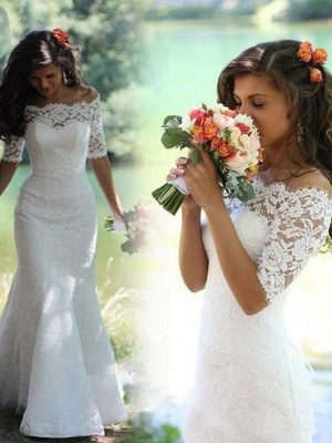 New White Lace Wedding Dress With Sleeves Mermaid Wedding Gowns Cheap_3