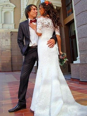 New White Lace Wedding Dress With Sleeves Mermaid Wedding Gowns Cheap_2
