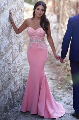 Günstige Abendkleider Rosa Meerjungfrau Perlen Abiballkleider Ballkleider Online_1