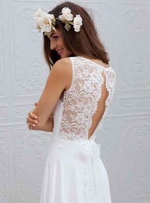 Shlichte Brautkleider A Linie | Chiffon Hochzeitskleider Mit Spitze_3