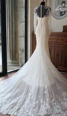 Lange Ärmel Brautkleider Weiß Spitze Meerjungfrau Perlen Brautmoden Hochzeitskleider_2
