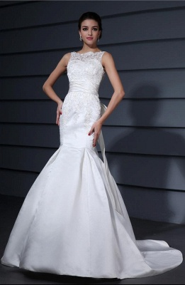 White wedding dresses with lace satin mermaid wedding dresses with train_1