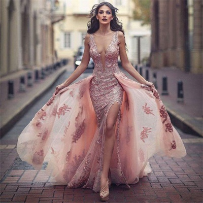 Elegant Pink Evening Dresses Lace Straps Tulle Evening Wear Prom Dresses Cheap_3