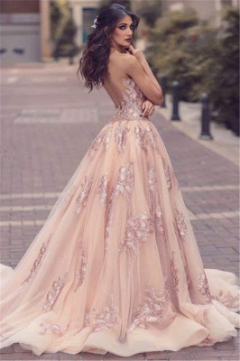Elegant Pink Evening Dresses Lace Straps Tulle Evening Wear Prom Dresses Cheap_2
