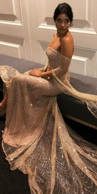 Elegante Abiballkleider Lang Günstig Pailletten Abendkleider Mit Ärmel_2