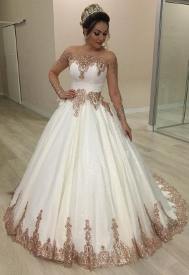Designer Hochzeitskleider Gold Weiß | Brautkleider mit Glitzer_1