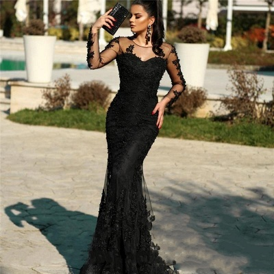 Elegant Evening Dresses Long Black | Lace prom dresses with sleeves_2