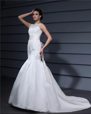 White wedding dresses with lace satin mermaid wedding dresses with train_2