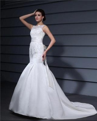 Weiße Brautkleider Mit Spitze Satin Meerjungfrau Hochzeitkleider Mit Schleppe_3