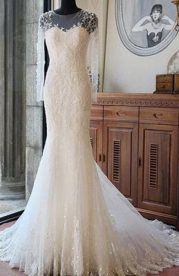 Lange Ärmel Brautkleider Weiß Spitze Meerjungfrau Perlen Brautmoden Hochzeitskleider_1