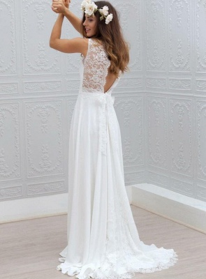 Shlichte Brautkleider A Linie | Chiffon Hochzeitskleider Mit Spitze_2