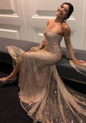 Elegante Abiballkleider Lang Günstig Pailletten Abendkleider Mit Ärmel_1