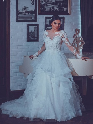 Fashion Wedding Dresses With Sleeves Lace A Line Wedding Dresses Big Size_1
