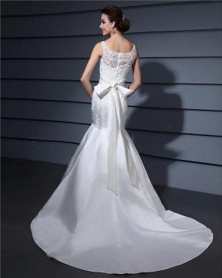 Weiße Brautkleider Mit Spitze Satin Meerjungfrau Hochzeitkleider Mit Schleppe_6
