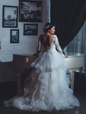 Fashion Wedding Dresses With Sleeves Lace A Line Wedding Dresses Big Size_2