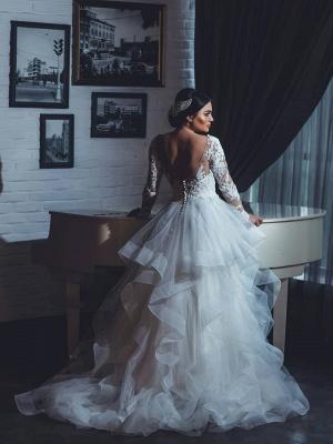 Fashion Brautkleider Mit Ärmel Spitze A Linie Hochzeitskleider Große Größe_2