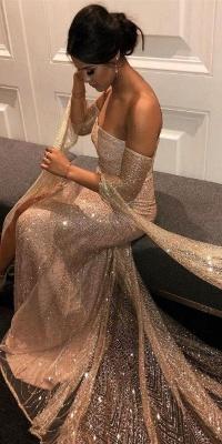 Elegante Abiballkleider Lang Günstig Pailletten Abendkleider Mit Ärmel_3
