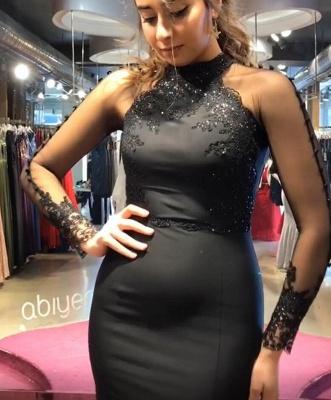 Elegante Schwarzes Abendkleid | Glitzer Abendkleider Lang Mit Ärmel_3