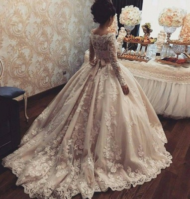 Champagne Wedding Dresses Lace Long Sleeves Princess Bridal Wedding Dresses Cheap_2
