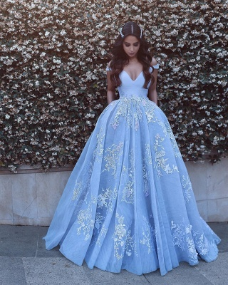 Designer Blue Evening Dresses Long With Lace Straps A Line Evening Wear Prom Dresses_2