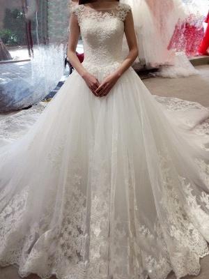 Modern A Linie Hochzeitskleider in Weiß Brautkleid Mit Spitze_1