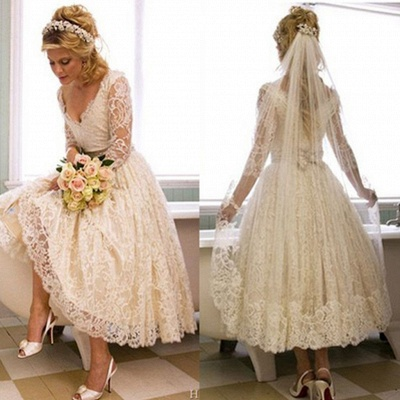 Elegant Brautkleider Kurz Lang Ärmel Spitze A linie Brautmoden Hochzeitskleider_3