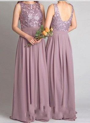 Dusty Pink Bridesmaid Dresses Long Cheap Lace Chiffon Dress For Bridesmaids_3