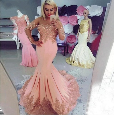 Elegant pink evening dresses with sleeves | Evening wear cheap online_2