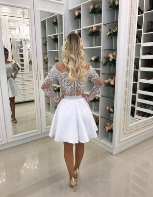 White Cocktail Dresses Lace Long Sleeves A Line Short Evening Dresses Chiffon_2