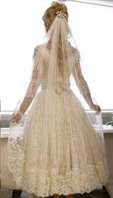 Elegant Brautkleider Kurz Lang Ärmel Spitze A linie Brautmoden Hochzeitskleider_2