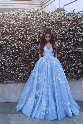 Designer Blue Evening Dresses Long With Lace Straps A Line Evening Wear Prom Dresses_1
