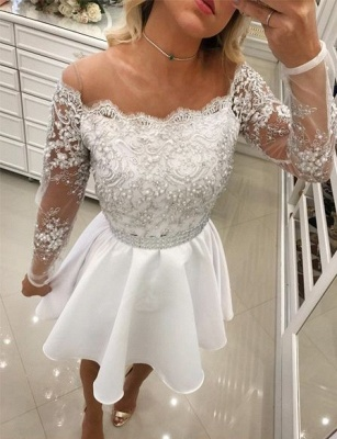 White Cocktail Dresses Lace Long Sleeves A Line Short Evening Dresses Chiffon_1