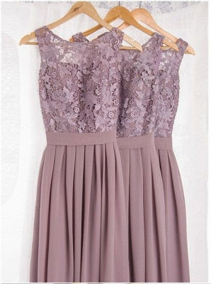 Dusty Pink Bridesmaid Dresses Long Cheap Lace Chiffon Dress For Bridesmaids_2