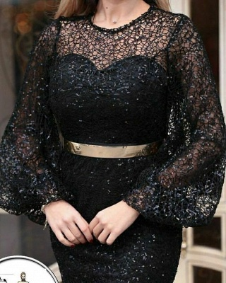 Evening dresses long glitter | Black evening wear with sleeves_3