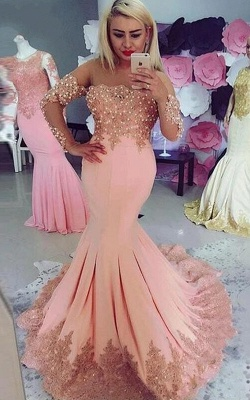 Elegant pink evening dresses with sleeves | Evening wear cheap online_1