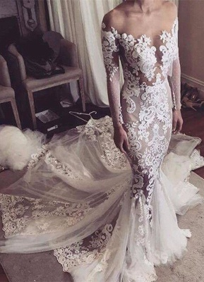 Long Sleeves Wedding Dresses Lace Off Shoulder Mermaid Bridal Wedding Dresses_1
