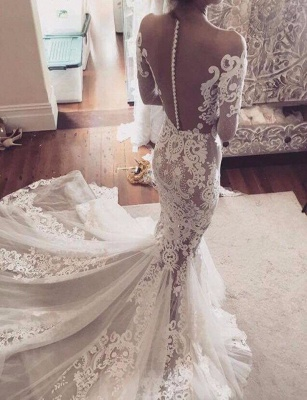 Long Sleeves Wedding Dresses Lace Off Shoulder Mermaid Bridal Wedding Dresses_2