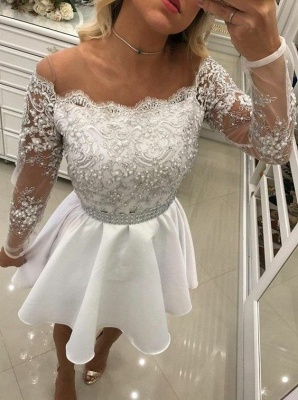 White Cocktail Dresses Lace Long Sleeves A Line Short Evening Dresses Chiffon_3