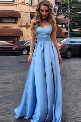 Blaues Abendkleider Lang Günstig Mit Spitze Satin Abendmoden Partykleider_1