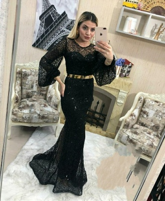 Evening dresses long glitter | Black evening wear with sleeves_2