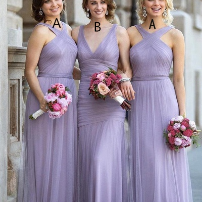 Lavender Long Bridesmaid Dresses Tulle Floor Length Sheath Dress for Bridesmaids_2