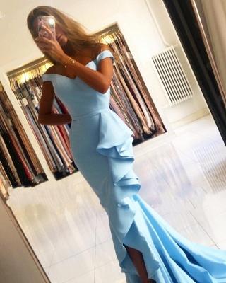 Schlichte Abendkleider Lang Blau | Abiballkleider Günstig Online_3